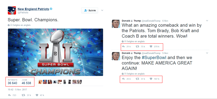 Tweets Donald Trump Super Bowl 2017